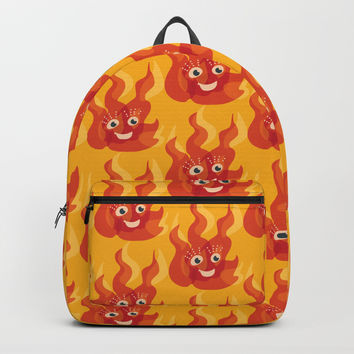 Happy Burning Cartoon Fire Backpack by borianagiormova