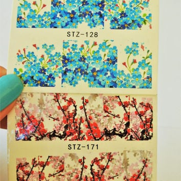 Nail Decals,2 sheets Cherry Blossom water Nail Art,3d Nail Design,Pink Cherry Blossom,Nails,Nail Arts,Blue cherry Blossom,Floral Nail wrap