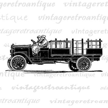 Printable Antique Truck Graphic Image Digital Illustration Download Vintage Clip Art Jpg Png Eps  HQ 300dpi No.3459
