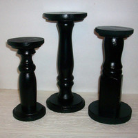 3 Black Wood Candle Holders