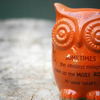 Owl home decor with Winnie the pooh quote on orange by claylicious