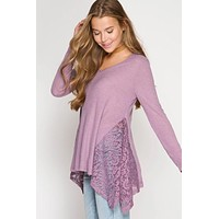 Ribbed Lace Contrast Top - Lilac