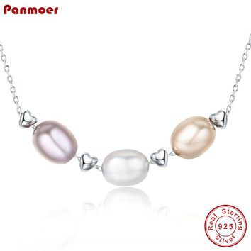 Freshwater Pearl Necklace 925 Sterling Silver Love Friendship Family Jewelry Bijoux necklaces & pendants for women collares