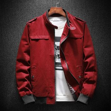 Trendy Autumn Bomber Jacket Men Summer Basic Casual Cotton Fashion Military Men Jacket Classic Outwear Red Khaki Plus Size 4xl 2018 AT_94_13