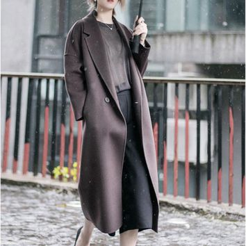 double-faced 100% cashmere wool Super Long Trench Coat Coffee Purple Khaki Women's Cashmere Coat 2017 two-sided wool long coat