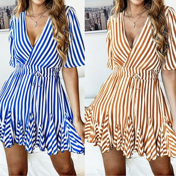 Spring and summer fashion printed striped lace short-sleeved women's dress(Only 1 piece)Blue