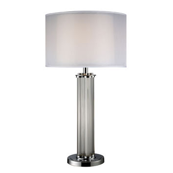 Hallstead Table Lamp in Chrome with Silver Organza Shade
