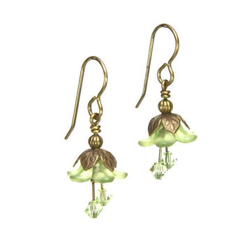 Fairy Flower Earrings in Vintage Natural Brass with Green Swarovski Crystals