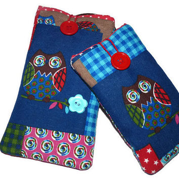 iPhone 6s plus sleeve / iPhone 6s cover  / iphone 6 Plus Pouch / Padded i6 case / iPhone 6s Plus Pouch / i6 phone Pouch Owl Fabric