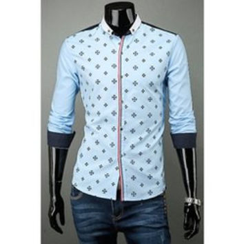 Stylish Color Block Button Fly Turn-down Collar Slimming Long Sleeves Men's Cotton Blend Shirt