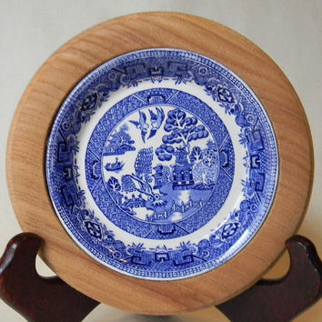 RARE Antique English Wood Butter Dish Tray Board with W R Midwinter Staffordshire Blue Willow Transferware Plate Insert