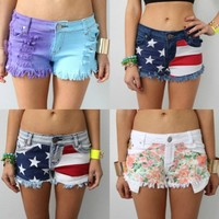 REVERSE FESTIVAL TIE DYE FLORAL AMERICANA USA FLAG DENIM CUT OFF SHORTS 8 9 10