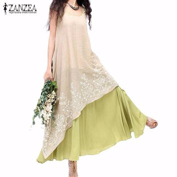 7 Colors ZANZEA Women Summer Long Maxi Dress 2018 Ladies Casual Loose Short Sleeve Floral Embroidery Two Layers Vintage Vestidos