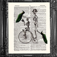 Skeletons Riding Bicycle-Dictionary Print Book Print Page Art-Upcycled Antique Book Page-Print On Dictionary Book Page-Upcycled Book Page