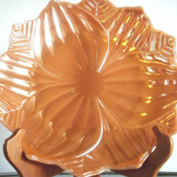 Anchor Hocking Lustre Leaf Blossom Plate, Fire King Luster Leaf Blossom Dinner Plate