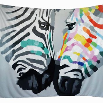 Colorful Abstract Zebra Animal Wall Hanging Art Tapestry Home Decorative Bohemian Tapestry Beach Towel Yoga Mat 2 sizes