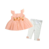 Koala Baby Boutique Girls 2 Piece Peach Ruffle Tulle Top with Rosette Detail and White Pant Set with Bow Detail