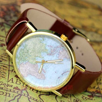The market's best-selling items, brown leather map of the world watches, unisex watches, Christmas gifts