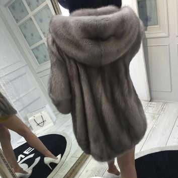 Anti-season 2016 new mink coat female models the whole mink cap in the long section of mink fur coat female Hood D5
