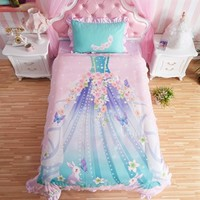 Princess Bedroom Set For Little Girl Pink Bedding Comforter Duvet Cover Sheet Set