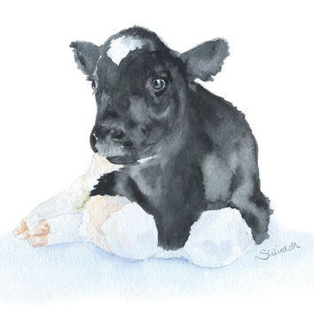Calf Watercolor - Baby Cow