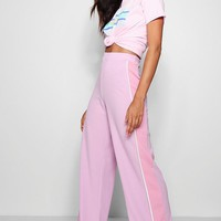 Zendaya Edit Crepe Sports Stripe Wide Leg Trousers | Boohoo