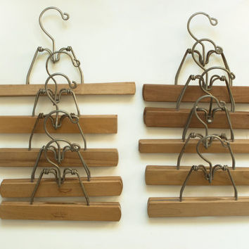 Vintage Wood Clamp Clothes Hangers for Pants Skirts, Fabric Storage or Art Prints, Shop Display Supply, SET of 10