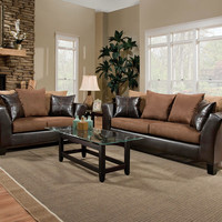 Two-Toned Brown Couch Set | Sierra Chocolate Sofa and Loveseat