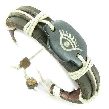 Amulet Genuine Leather Adjustable Bracelet with All Seeing Protection Eye Symbol Lucky Charm