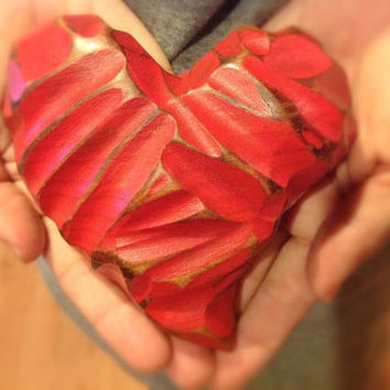 Wooden love valentines heart made from reclaimed long leaf yellow pine