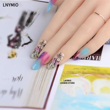 Flower long fake nails artificial color shading press on nail art tips