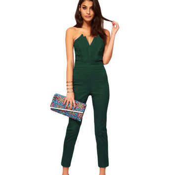S-XXL Rompers womens jumpsuit summer 2016 black/green jumpsuit women clubwear elegant workwear origami strapless jumpsuit A6211