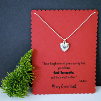 Pitch Perfect Christmas Necklace with Fat Amy Fat Heart Quote and Heart