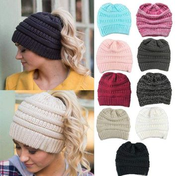 Womens Beanie Tail Messy Soft Bun Hat Ponytail Stretchy Knit Crochet Skull Caps