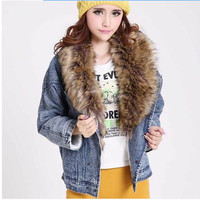 Women Autumn Coat Detachable Fur Collar Batwing Sleeve Denim Outerwear Jacket Type Wadded Womens Jackets And Coats 6108 - 1
