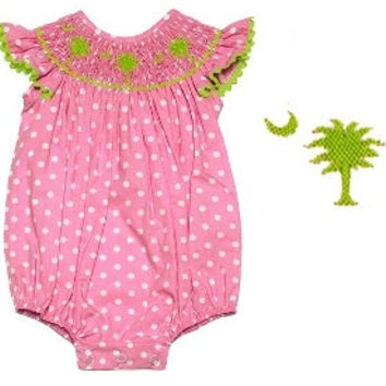 Smocked South Carolina Palmetto Tree Infant Outfit