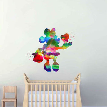 kcik2117 Full Color Wall decal Watercolor Character Disney Minnie Mouse children's room Sticker Disney