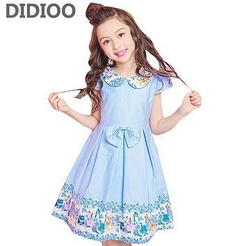 Children Wedding Dresses For Girls Princess Party Dresses Peter Pan Collar Floral Print Ball Gown