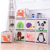 HOT 3D Embroidery Cartoon Animal Folding Storage Box Large Laundry Basket Sundries Children Clothes Toys Book Storage organizer