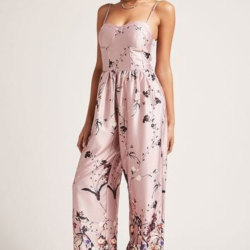Satin Floral Jumpsuit