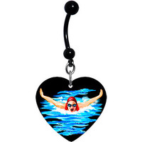 Black Heart Swimming Belly Ring | Body Candy Body Jewelry