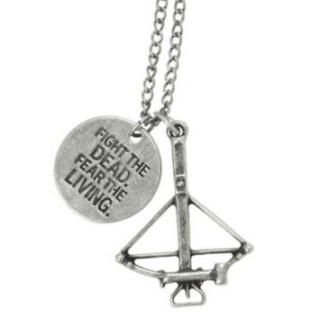 The Walking Dead Crossbow Necklace Pendant With Chain High Fashion Jewelry