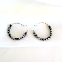 Hematite hoop earrings, silver and hematite tribal earrings,  gift under 40