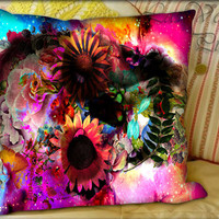 Floral Skull Nebula - Pillow Cover and Pillow Case.