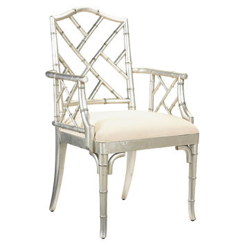 Moselle Armchair, Silver/Off-White, Arm Chairs
