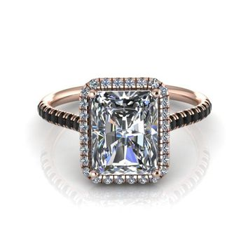 14k Rose Gold Emerald Cut Moissanite Engagement Ring with Diamond Halo