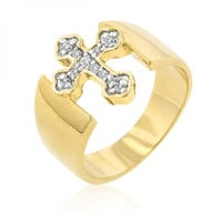 Two-tone Finish Cross Ring