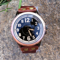 Retro style watch, Brown Leather Bracelet  Watch, Handmade Women's Watch, Men Watch YB045