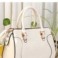 Cute Fashion Crocodile  Candy Color Handbag