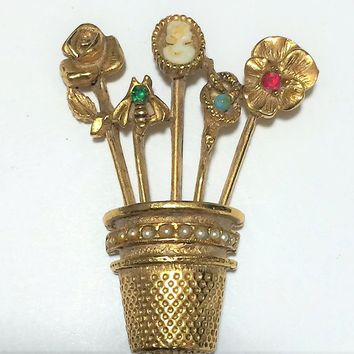 Goldette Charm Stick Pin Brooch, Pins in Thimble, Bug Cameo, Antiqued Gold Tone, Mid Century Era, Romantic Vintage Jewelry 718m